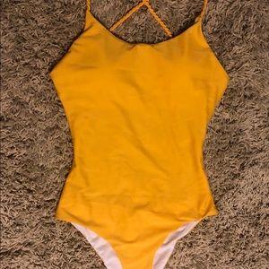 Yellow One Piece Ladies Swimsuit